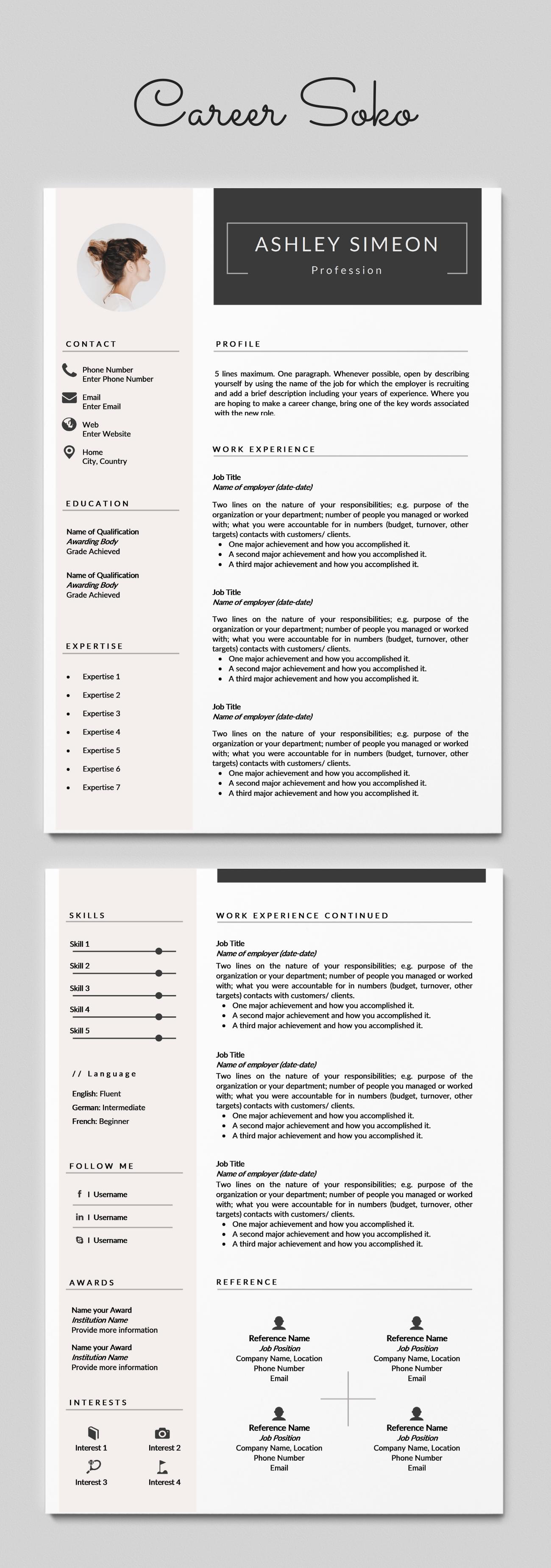 Minimalist Resume 2 Page Resume Template Cv Template Curriculum Vitae Cv Design Resume Template Word Free Resume Template In 2020 Minimalist Resume Resume Design Architecture Resume