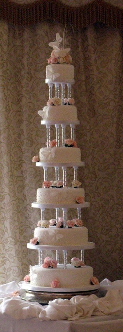 wedding cake tiers pillars pillar wedding cakes six tier wedding cake separated on 26269