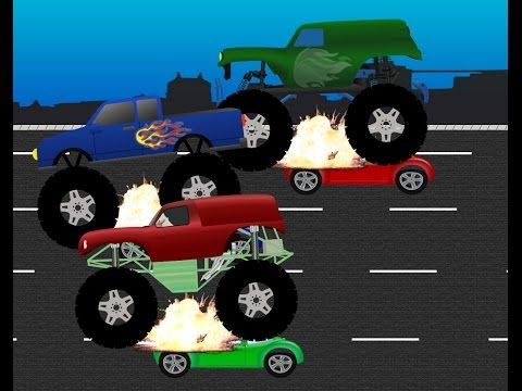 Monster Trucks For Children 3 Monster Trucks Smashing Cars Slow Motion Monster Trucks Monster Truck Videos Truck Videos For Kids