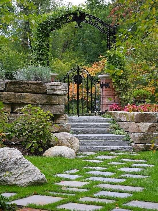 landschaft design-ideen landhaus metalltor-dekorativ naturstein, Gartenarbeit ideen