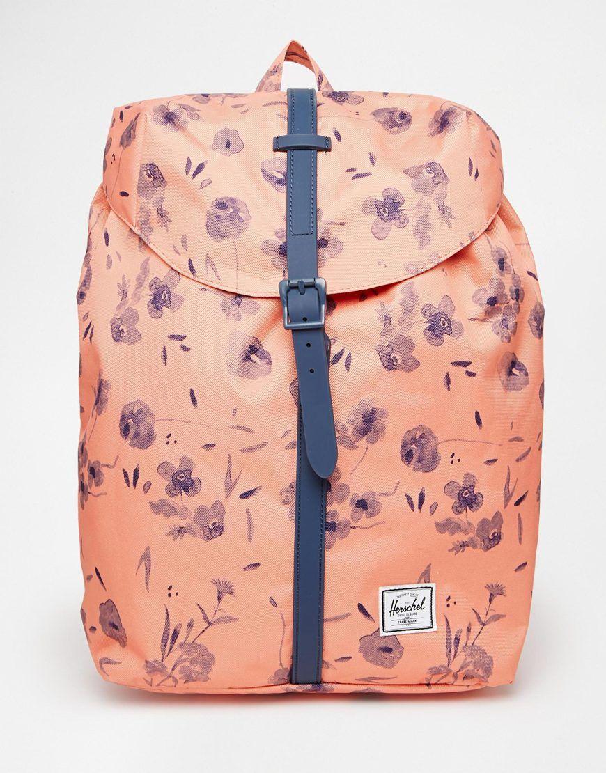 Herschel – Supply Co – Rucksack in orangefarbenem Blumenmuster ... 9c7fc5fdcef0e