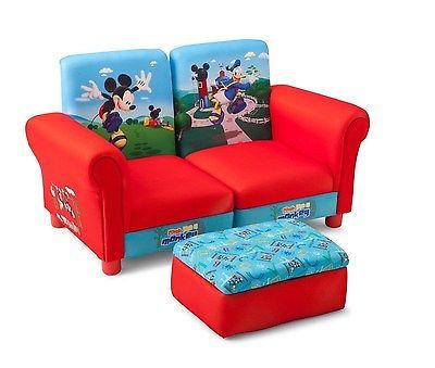 Mickey Mouse Upholstered Sectional Set Kids Furniture Decor Ottoman Sofa Couch