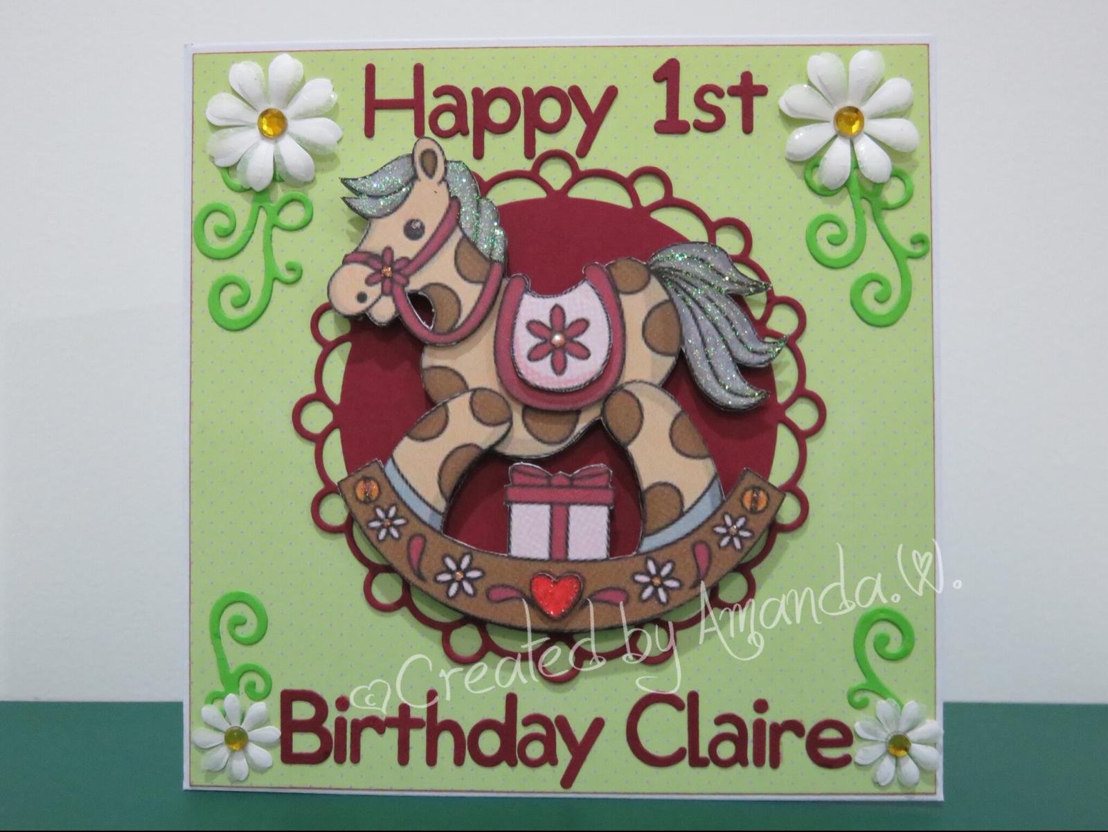 Rocking horse st birthday handmade card my creations pinterest