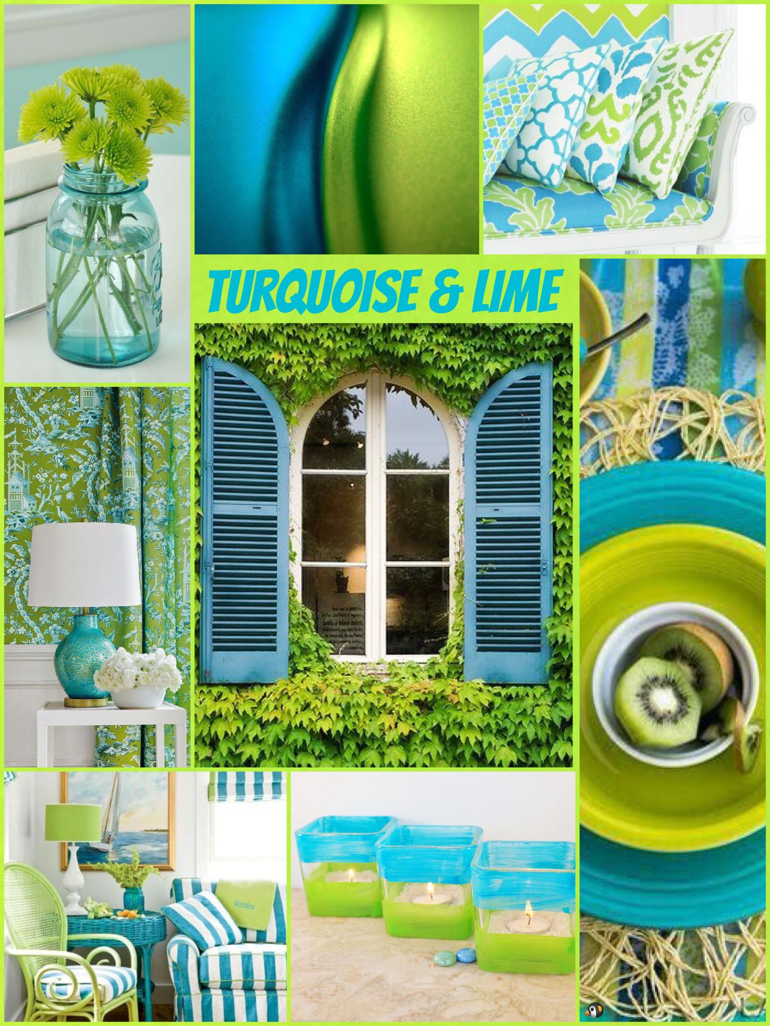 Turquoise and Lime | Lime green decor, Lime green walls ...