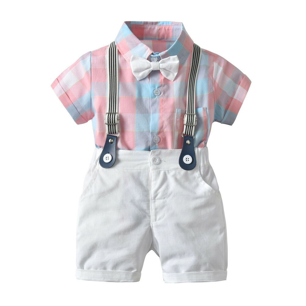 Pants Formal Bow 2Pcs Tuxedo Clothes Sets Toddler Baby Boy Plaid Dress Tops