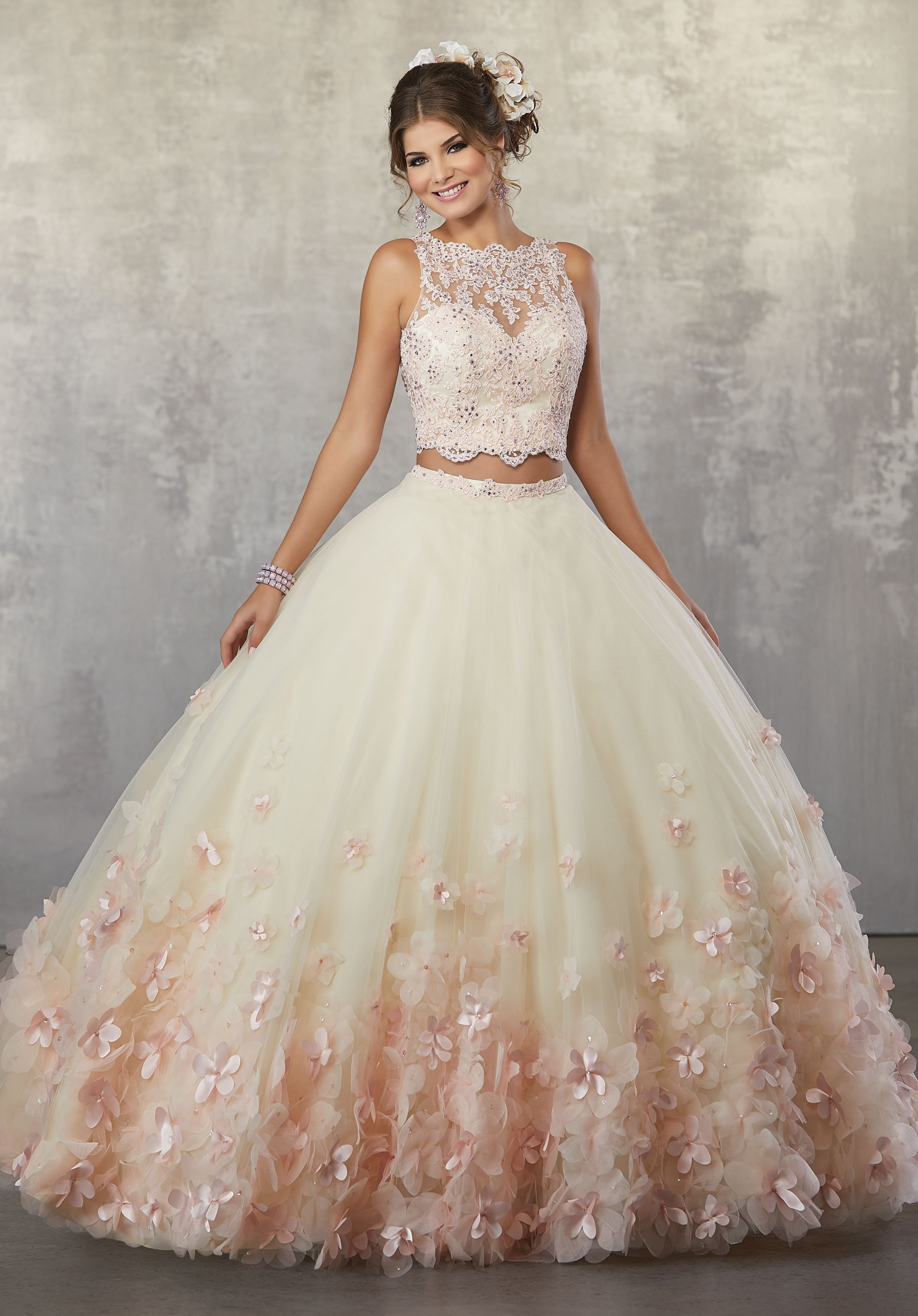 420616118a8 Floral Two-Piece Quinceanera Dress by Mori Lee Vizcaya 89175 ...