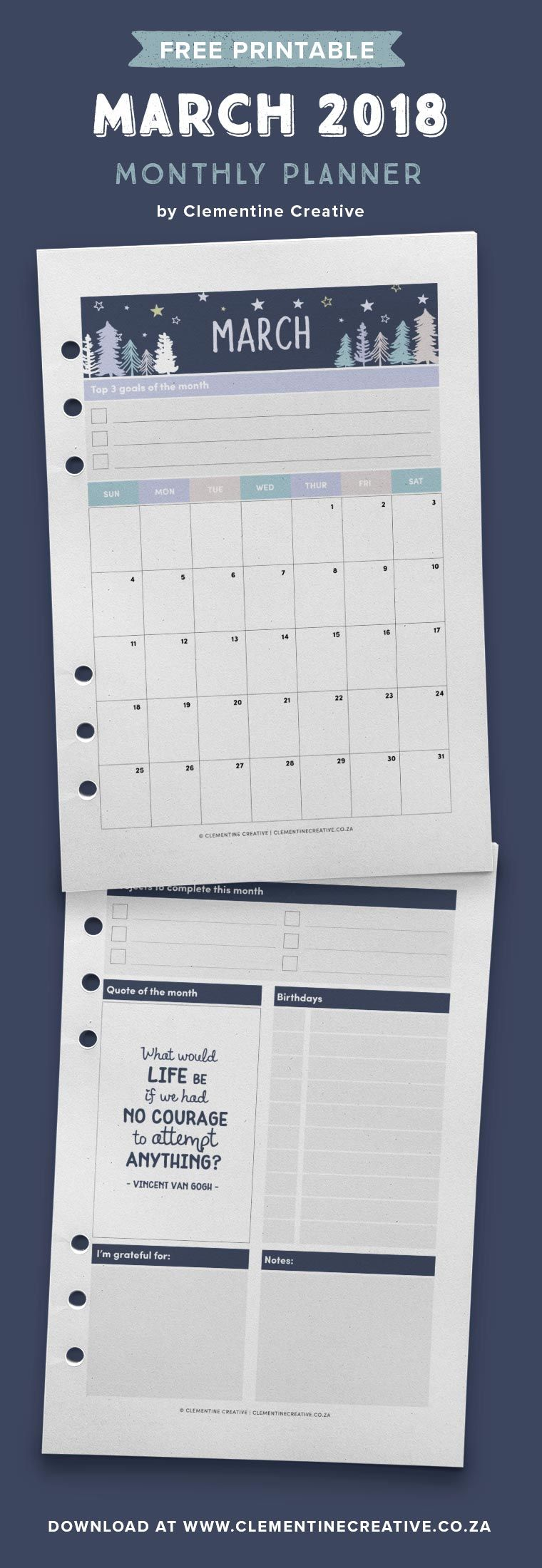 March  Free Printable Monthly Planner  A A And Free
