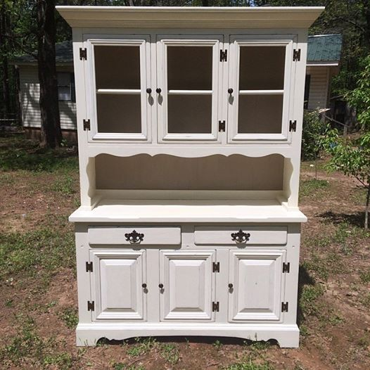 Vintage Painted Hutch With Display Lights Still Has Original Stickers From Sears Roebuck Furniture Collection Drawers Are Lined In The Old Catalogs