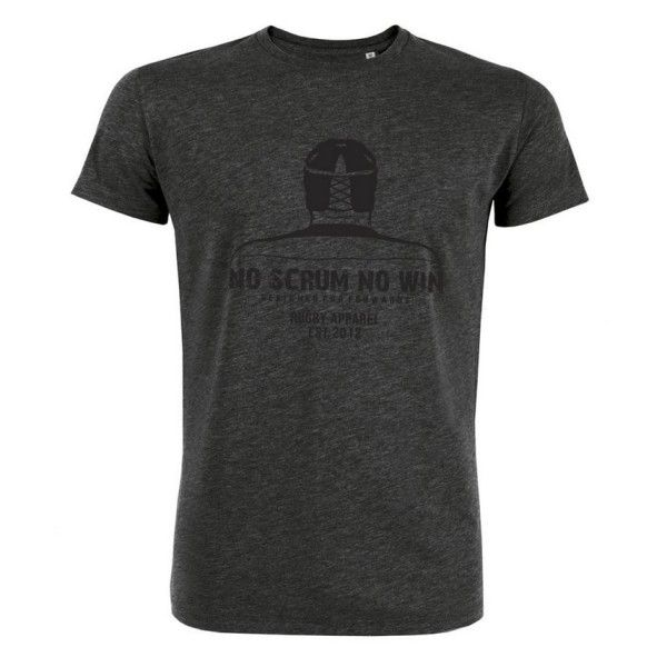 "Rugby T-shirt. The ""Warrior"" Dark-Heather-Grey & large classic NO SCRUM NO WIN printed branding on front. Trademark NSNW patch labels on sleeve, and on front lower right side 