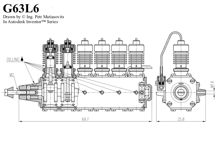 Gasparin Co2 Motors G63l6 Model Airplanes Small Engine V Engine