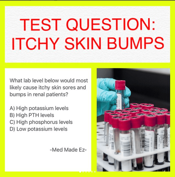TEST QUESTION: Itchy Bumps on Skin | Nurse | Skin bumps, Nursing