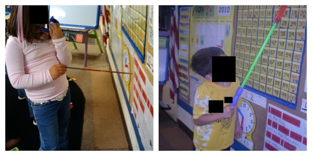 detective literacy center -pointers=water blasters from dollar store w/o the water (reaches high up)