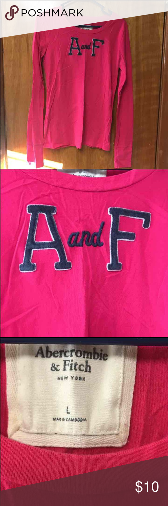 Abercrombie & Fitch pink long sleeve shirt. Large Abercrombie & Fitch pink long sleeve shirt. Size lg. Abercrombie & Fitch Tops Tees - Long Sleeve