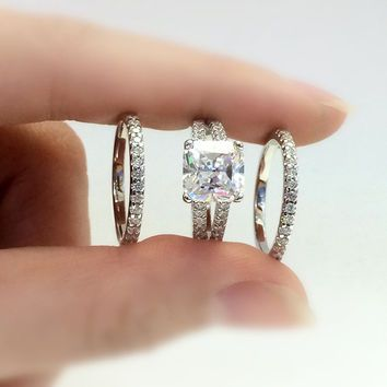pin engagement diamond carats princess silver cut ring anniversary promise simulant rings wedding