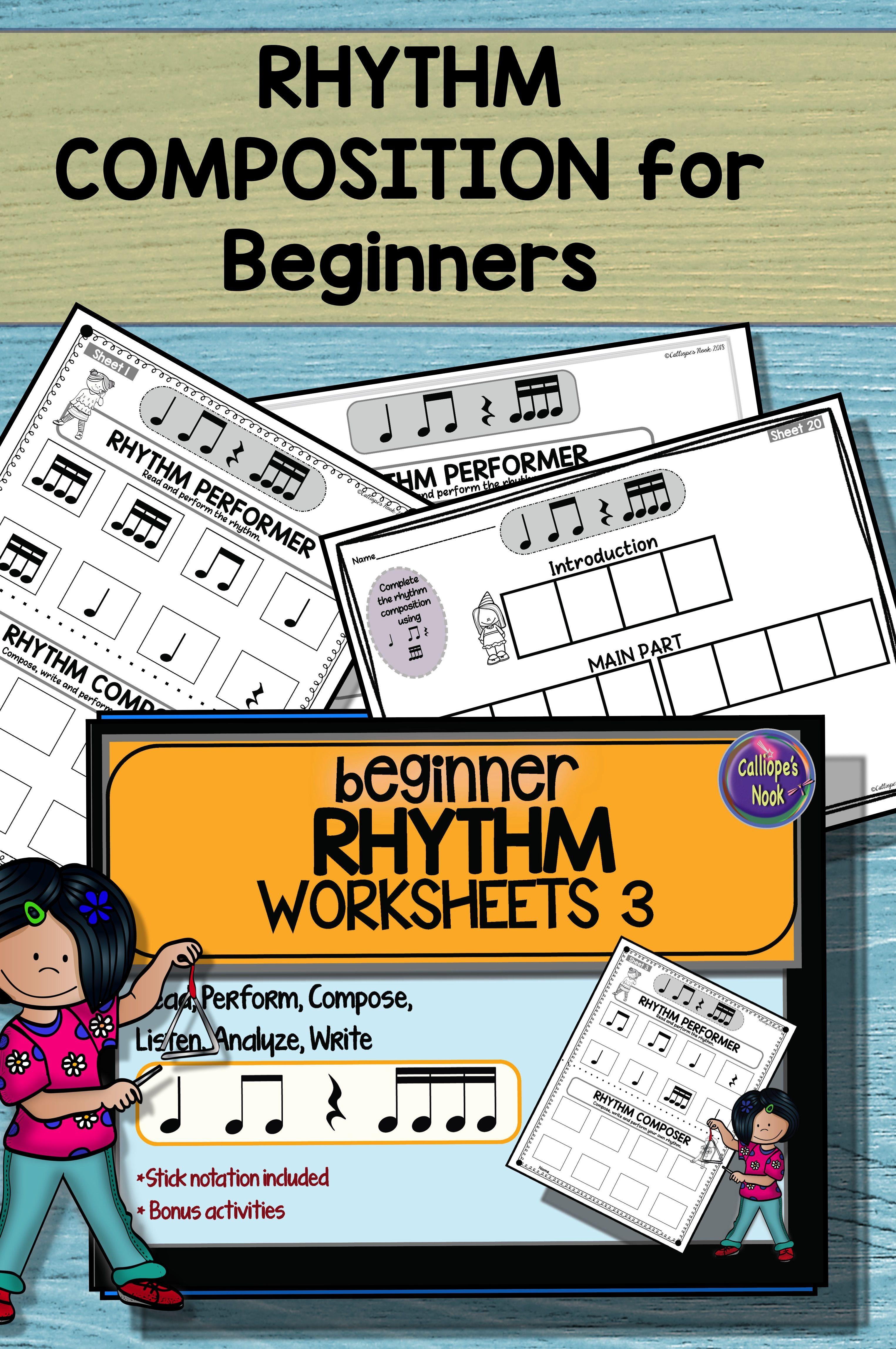 Beginner Rhythm Worksheets 3 Quarter Eighth Sixteenth