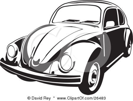 Clipart Illustration Of A Volkswagen Beetle Car In Black And White