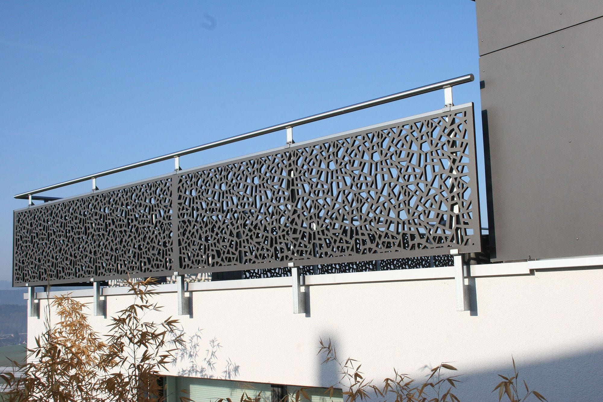 Outdoor Railing In Wood With Panels For Balcony Single Family House