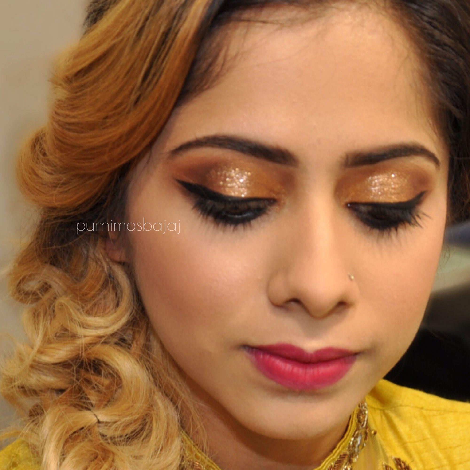 Bridal Hair Yellow Lehenga Makeup Indian Makeup Smokey Eyes Indian