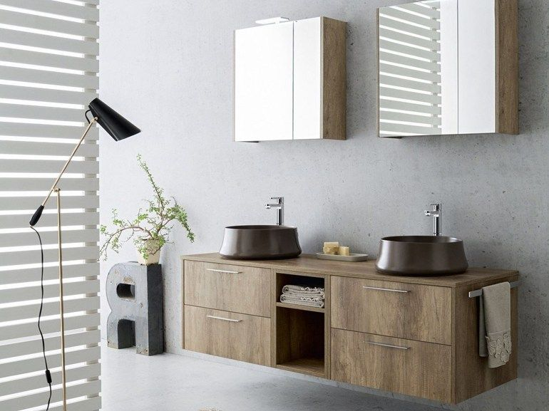 Suspended Bathroom Cabinet With Mirror VELVET 9859 By