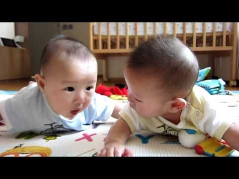 Twin Babies Laughing at Mom's Coughing