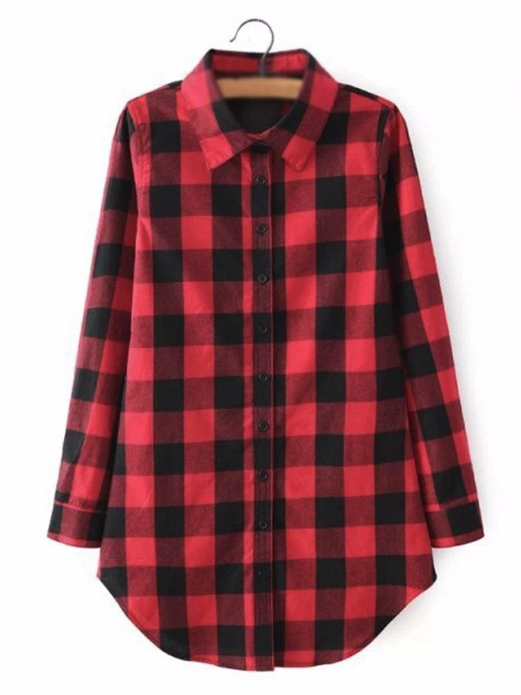 e84b0c9028b Casual Women Plaid Polo Neck Blouses Long Sleeve Button Up Shirts ...