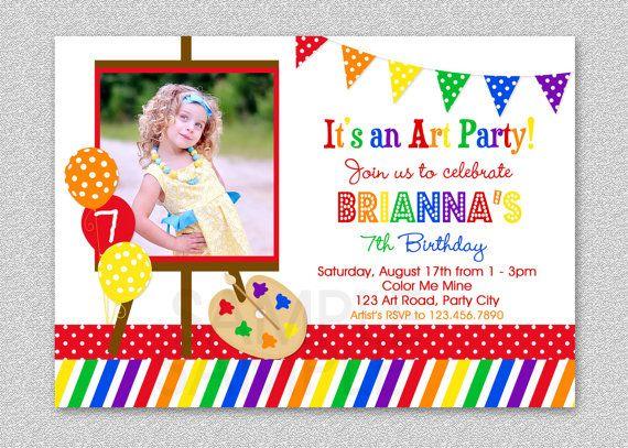 Art Birthday Party Invitation Rainbow Art Invitation