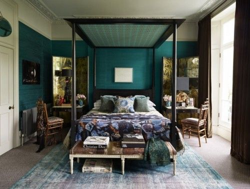 Schlafzimmer Dunkel ~ Ideen schlafzimmer eklektisch dunkle farben vintage teppich