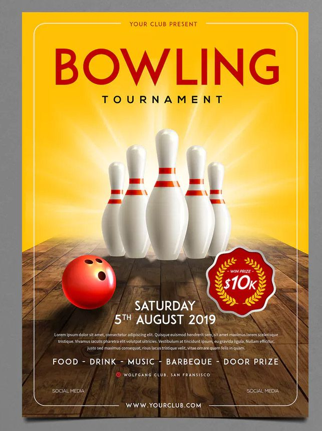 Bowling Tournament Flyer By Monogrph On Envato Elements Bowling Tournament Flyer Template Tournaments
