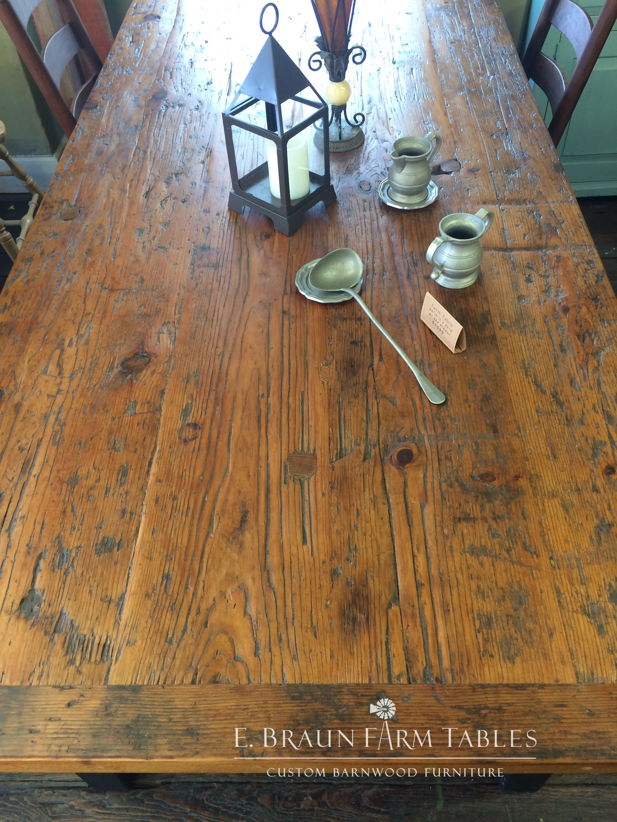 High Character Referring To The Level Of Texture And Wear Reclaimed White Pine Table Top Shows The Hallmarks Farmhouse Table Old Wood Table Barn Door Tables