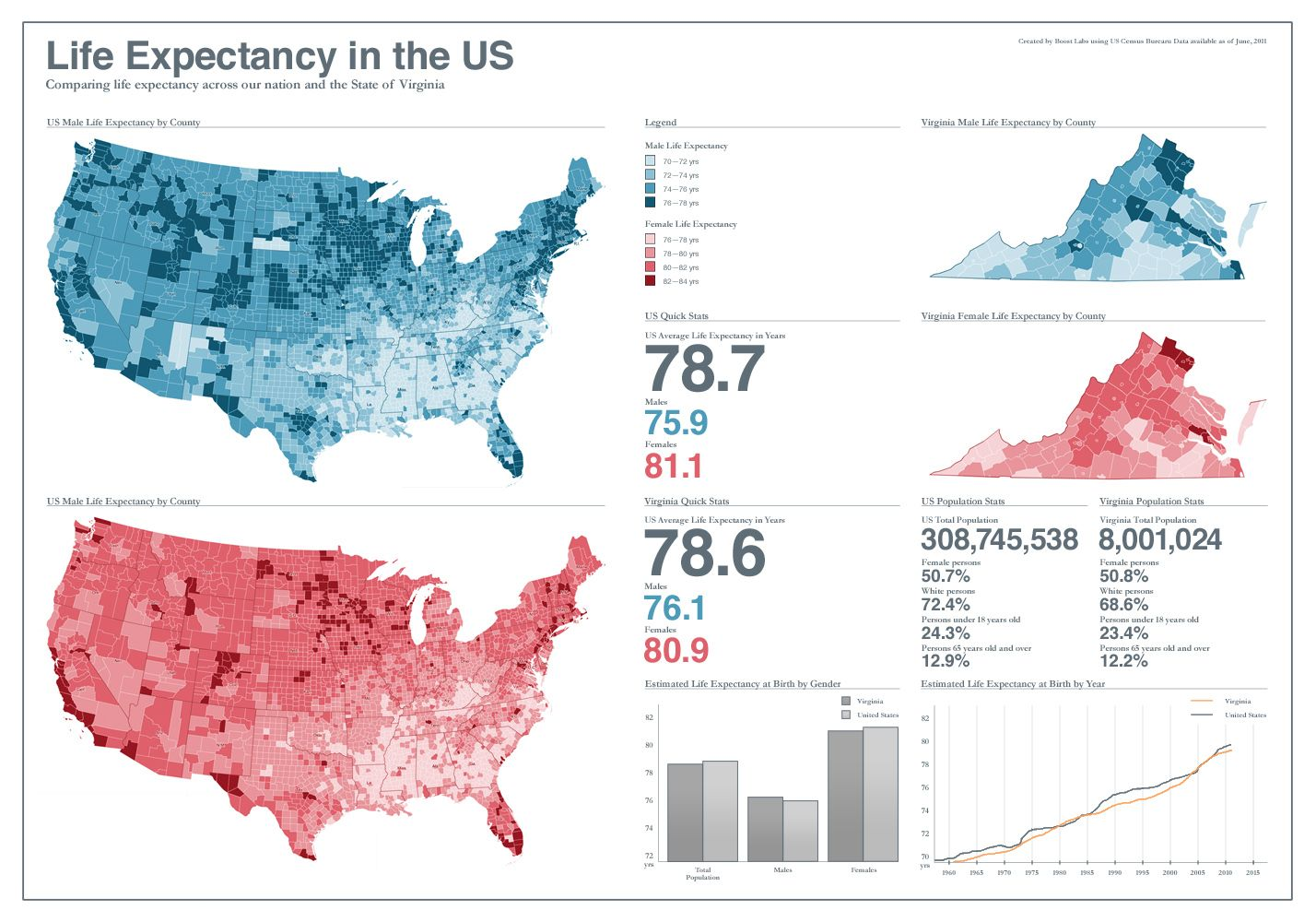 US Life Expectancy Visualization The Question How Long Does The - Create us map infographic