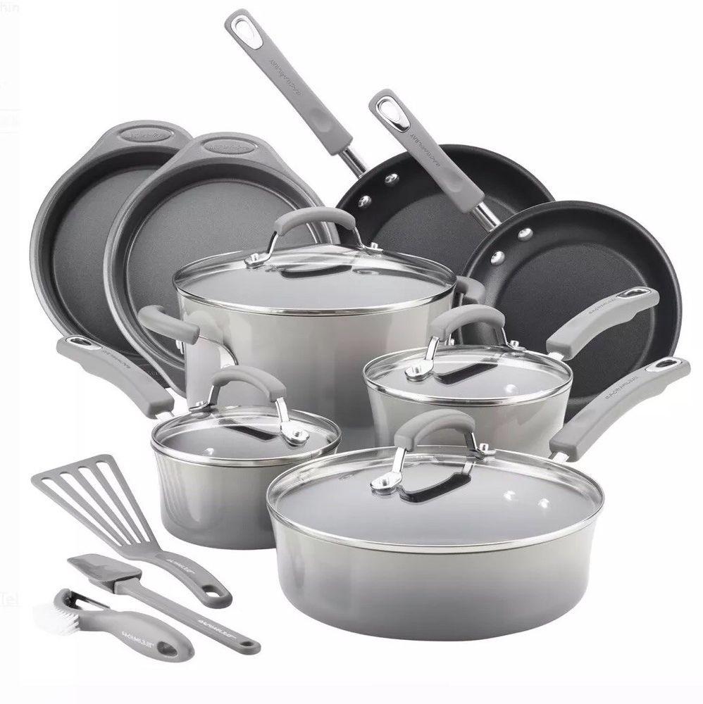Nonstick 15 Piece Cookware Set Rachael Ray Enamel Pots Frying Pans