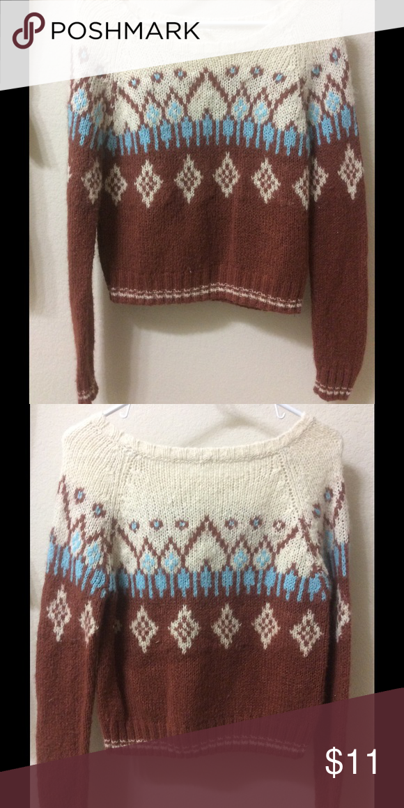 I Love H81 Forever XXI Knitted Sweater Color: Cream, brown, blue Size: S Condition: Slightly Worn Design: candles Forever 21 Sweaters Crew & Scoop Necks