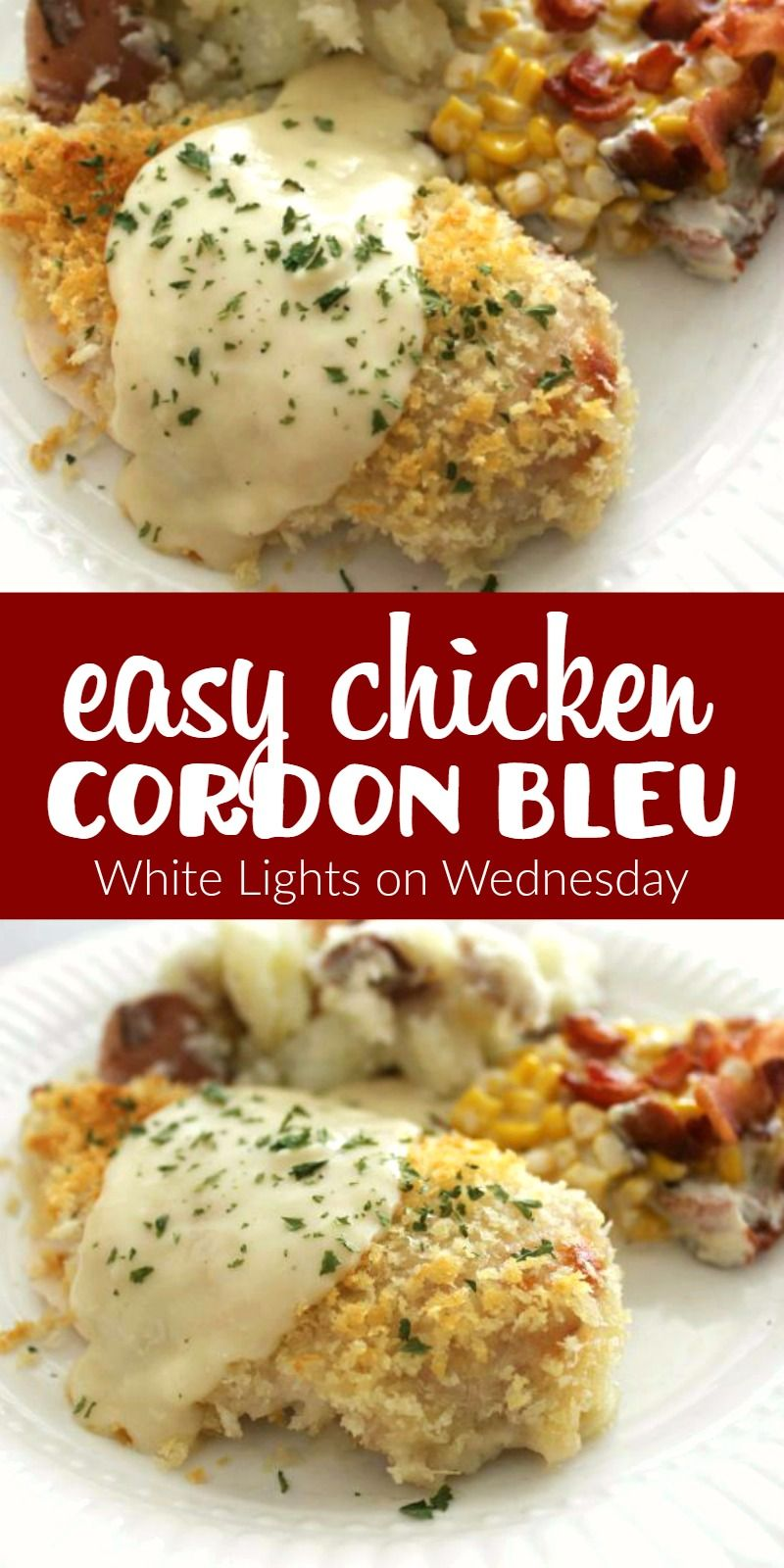 easy chicken cordon bleu   white lights on wednesday   recipes