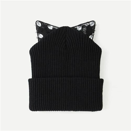 3fb4abe621 SHEIN Black Cat Ear Knit Beanie Hat Women Winter Autumn Female Cute Cap  Ladies All Matched Warm Hats