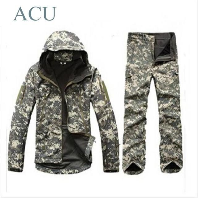a7c463ef830f0 Tactical TAD Gear Soft Shell Camouflage Outdoor Jacket Set Men Army Sport  Waterproof Hunting Clothes ACU Military Jacket + Pants