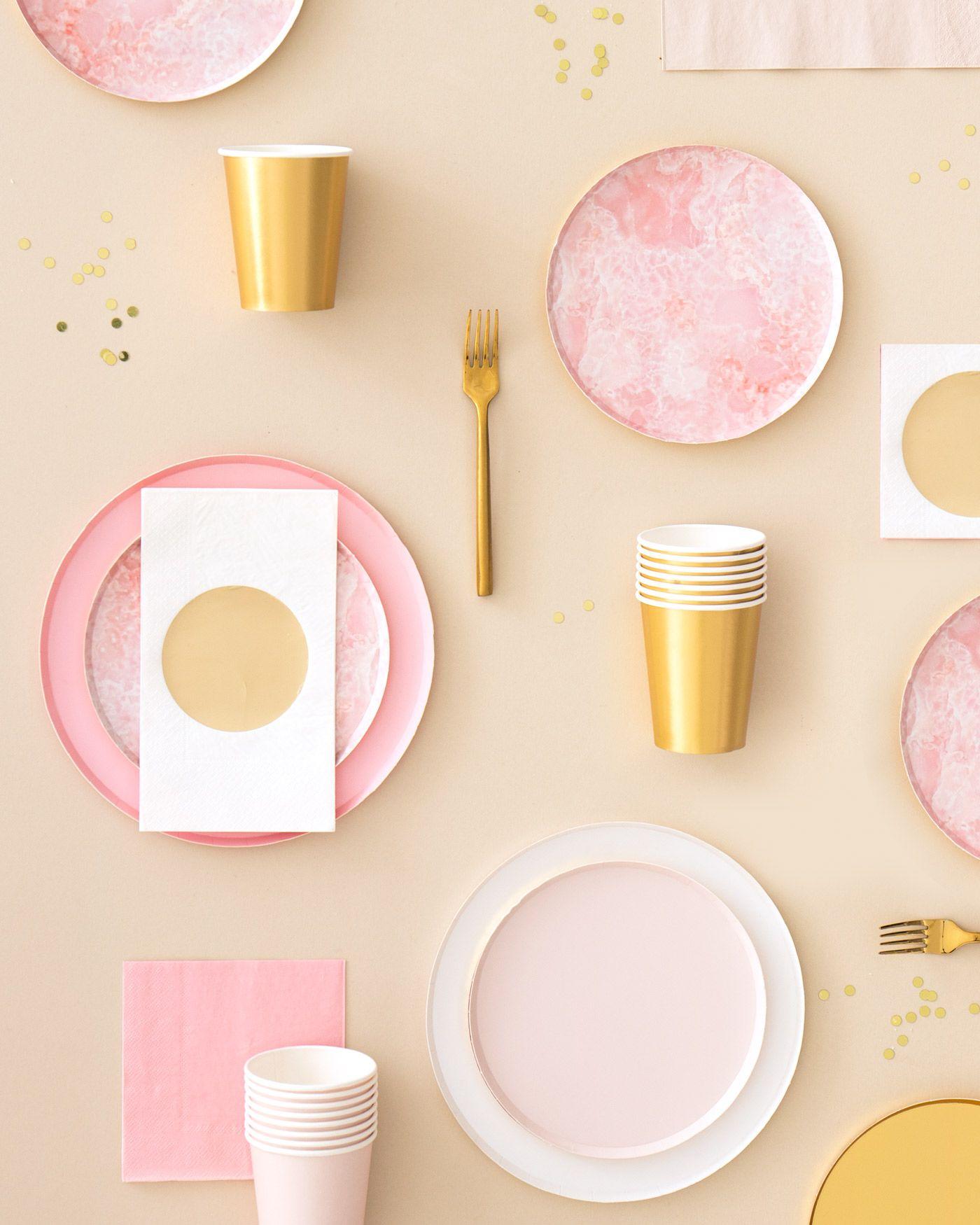 Oh Happy Day Rose Quartz Plates (Large) Paper plates