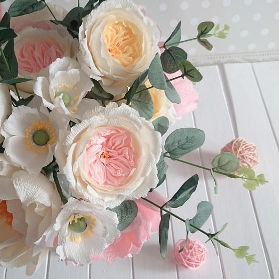 Cream paper roses Bridal paper bouquet Crepe paper flower Paper flower bouquet Pink paper bouquet Br #crepepaperroses