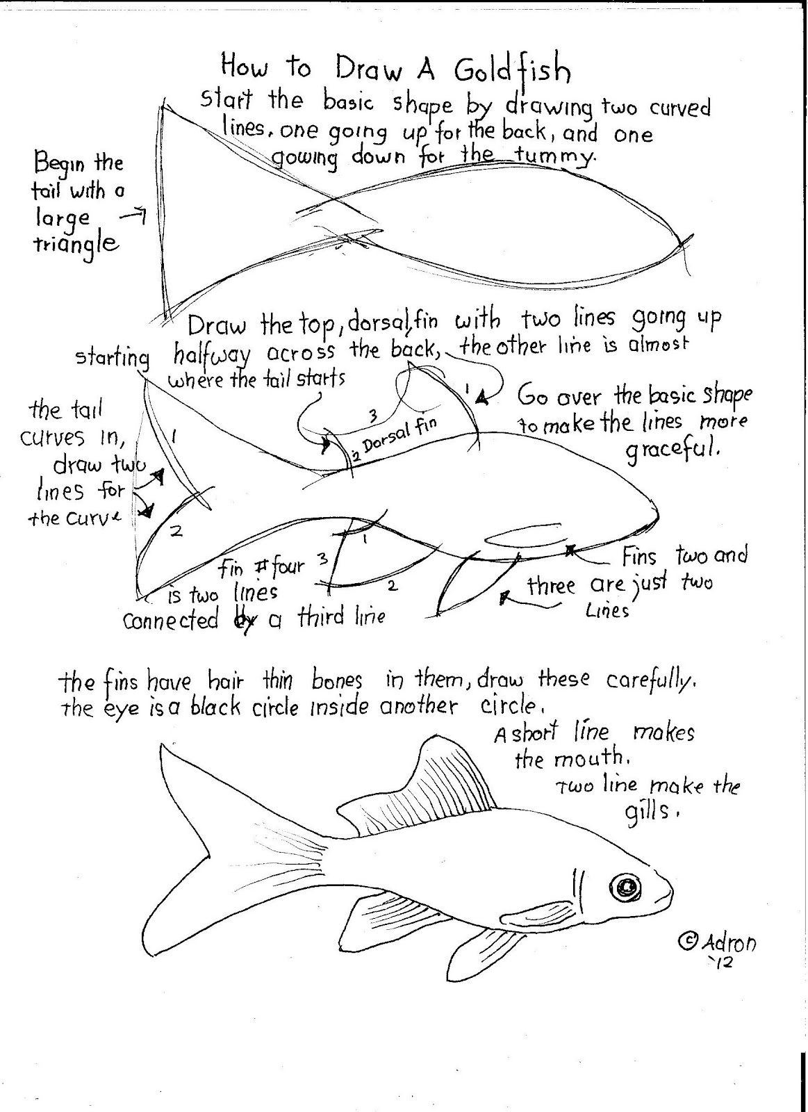 How To Draw A Goldfish Lesson And Worksheet