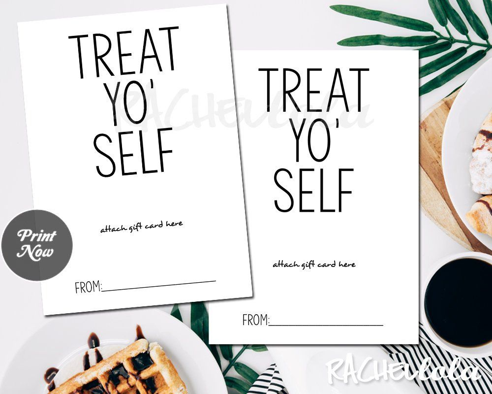 Printable Treat Yo Self Gift Card Holder Funny Template Etsy Gift Card Holder Gift Card Holder Template Restaurant Gift Cards