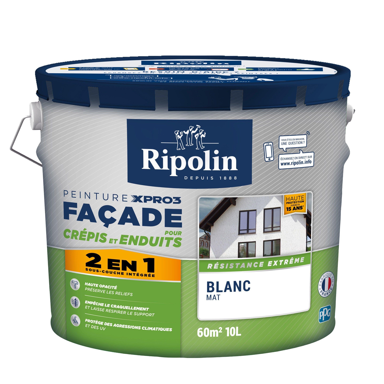 Peinture Facade Surface Structuree Xpro3 Ripolin Blanc 10 L En 2020 Peinture Facade Peinture Blanc