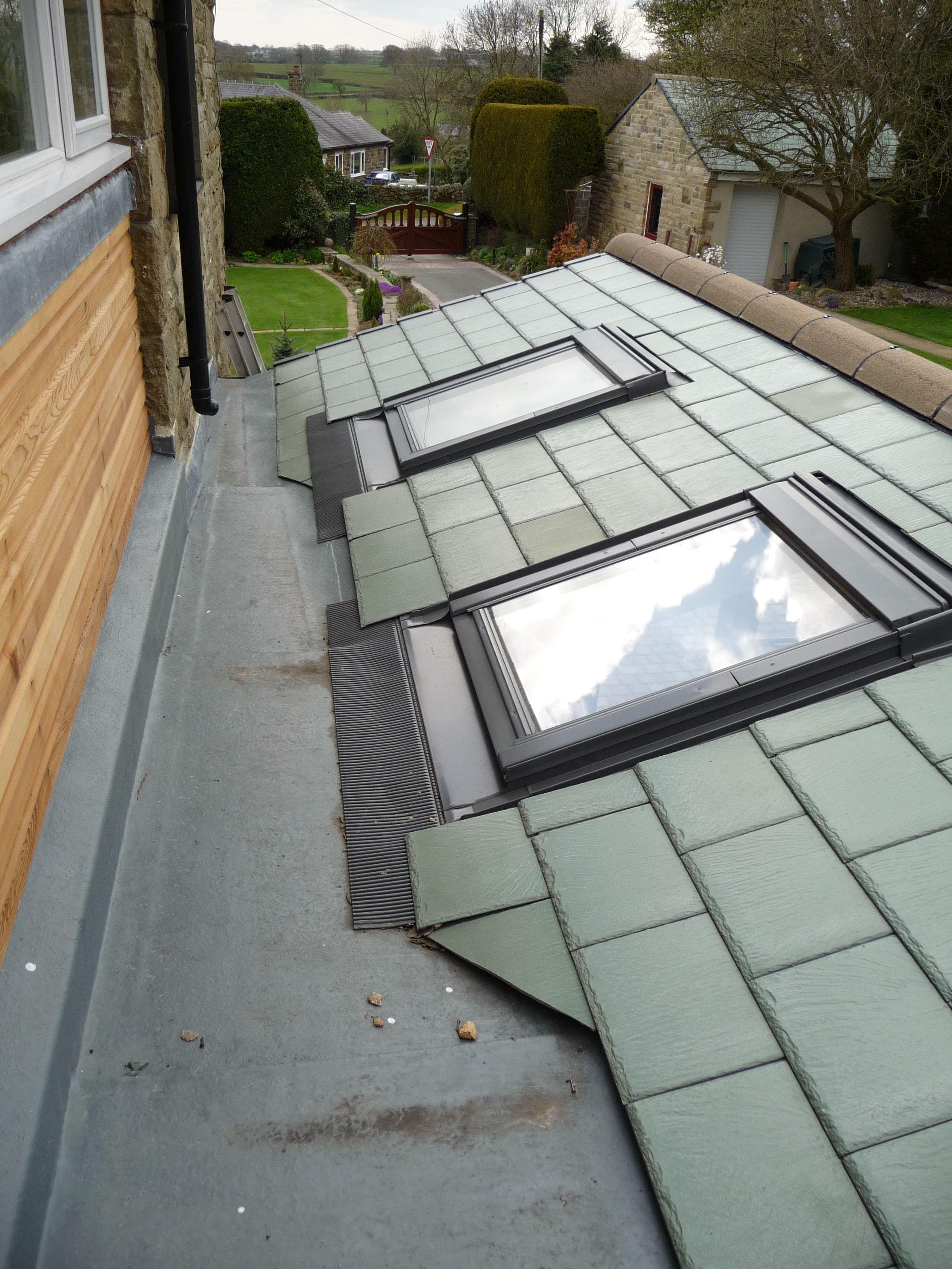 GRP secret gutter with green slate roof by Derry Construction Ltd. 2012