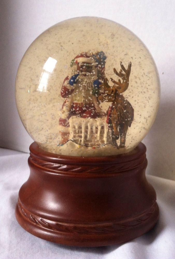 African American Black Santa With Reindeer Princess House Musical Snow Globe Snow Globes Musical Snow Globes Snow