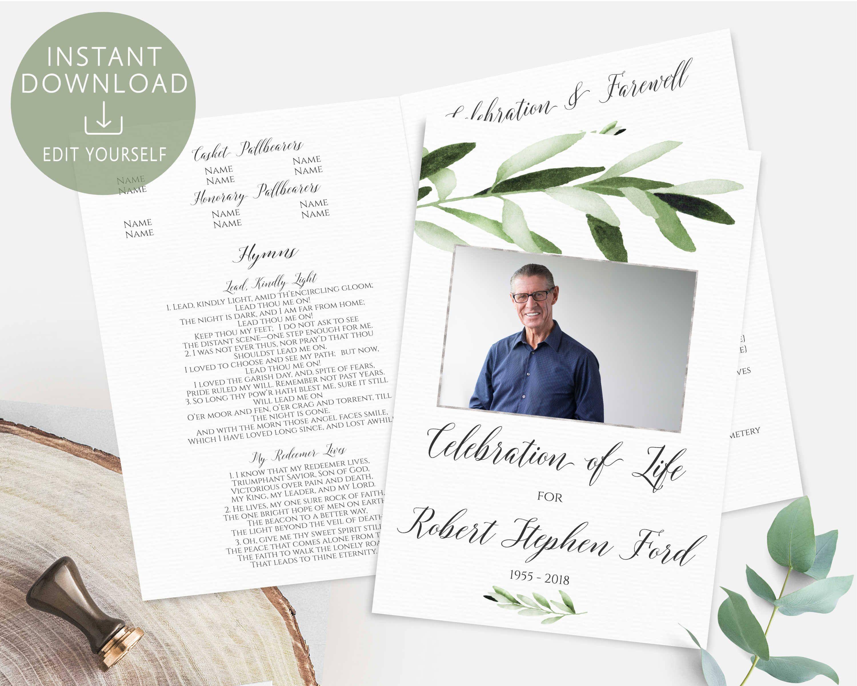 Memorial program printable celebration of life program