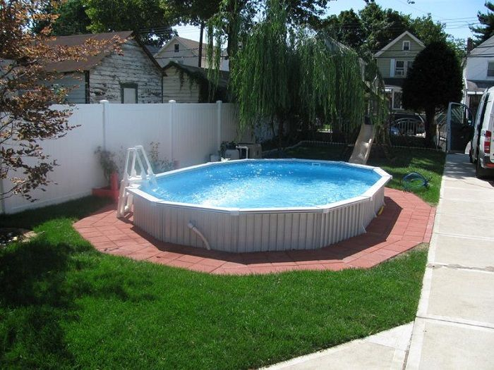 Semi Inground Pools Designs For Outdoor Space Small Semi Inground Pools In White With Payer Small Inground Pool Inground Pool Designs Small Above Ground Pool