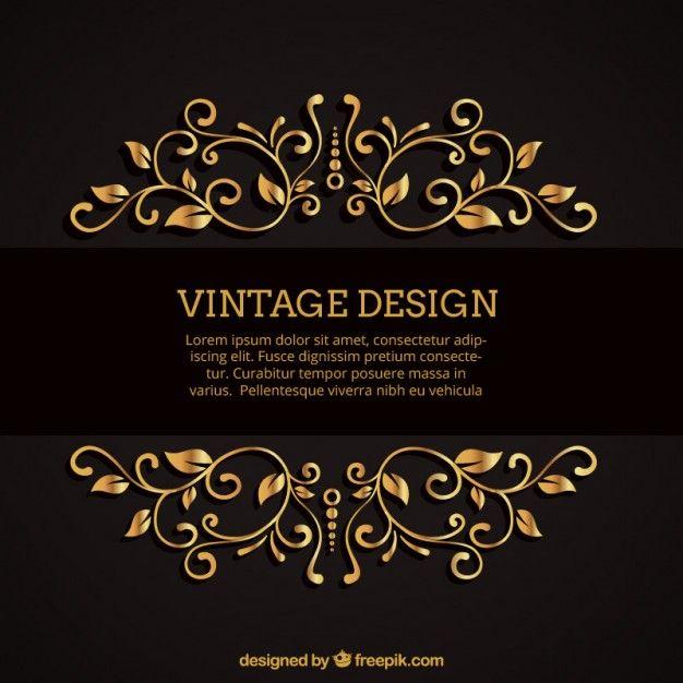 Fabuloso Fundo com ornamentos de ouro | Business cards, Logos and Business PL34