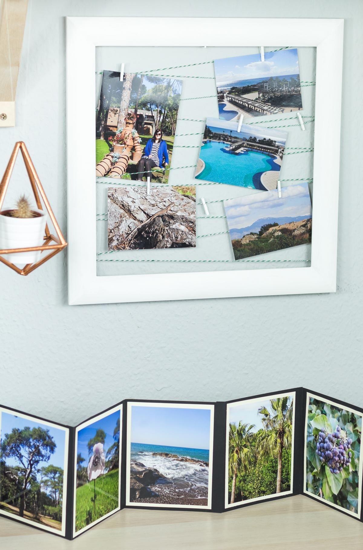 diy fotowand basteln - schöne upcycling idee für alte bilderrahmen