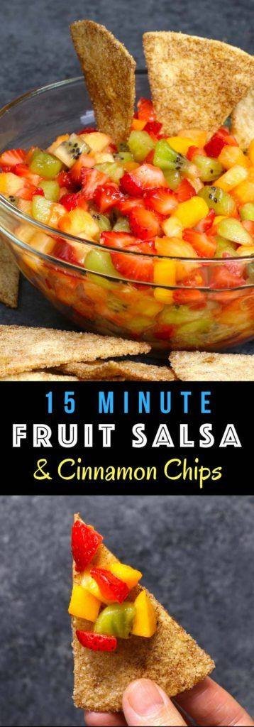 Quick and easy Fruit Salsa with Cinnamon Chips   delicious fruit salsa with crispy and sweet cinnamon chips  It comes together in no time  It's a great way to start the day, enjoy the day, or fini is part of Fruit salsa recipe -