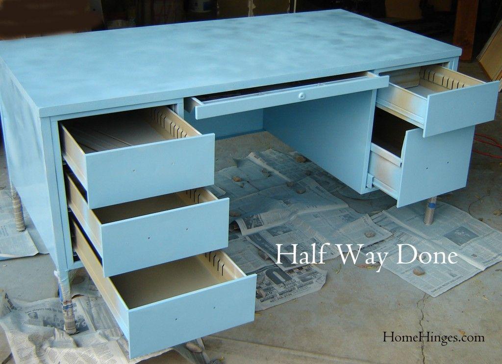 First Coat Of Blue Paint  Metal Desk Makeover