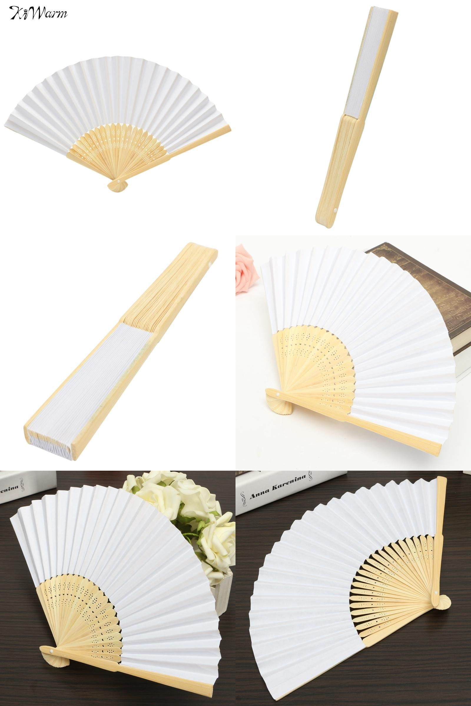 Visit to Buy Kiwarm Blank White DIY Paper Bamboo Folding Fan For