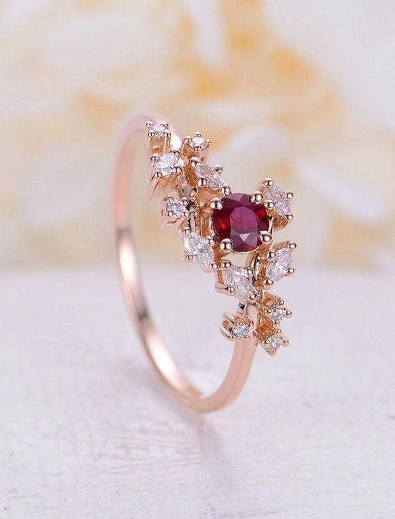 Rose Gold Engagement Ring Set Diamond Cluster Ring Unique Ruby